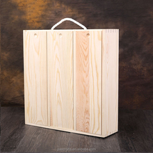Wholesale cheap unfinished 3-bottles high quality wooden wine packaging box for sale