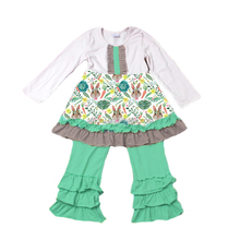 Popular ruffle frocks designs bunny printed Easter outfits girl boutique clothes Holiday Clothes Sets