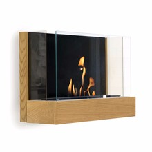 Wooden real flame wall ethanol fireplace