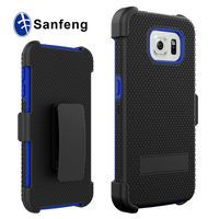 Hard PC & Silicone Combo Holster Clip Case for Samsung Galaxy S6 Kickstand Cover