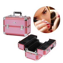 Professional Pink Train Cosmetic Case Beauty Vainty Makeup Case with Adjustable Dividers