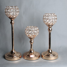 wholesale round gold crystal iron pot flower stand candle holder for wedding table centerpieces