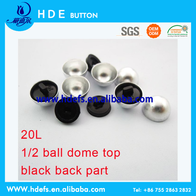1/2 ball dome top black back part fabric cover button