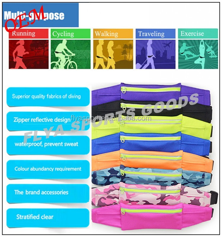 High quality wholesale fashion outdoor sport custom logo waterproof running belt fanny packs