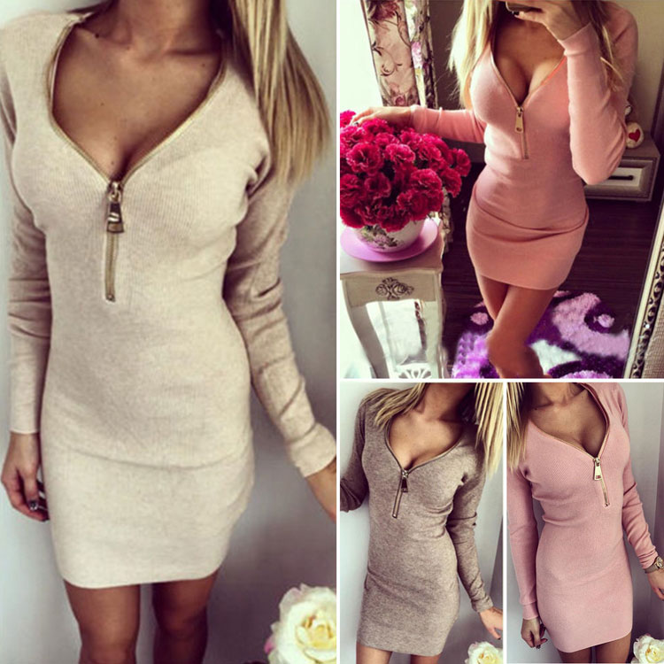 Womens Wholesale Sexy Long Sleeve Winter Bodycon Bandage Stretch Pencil Mini <strong>Dress</strong>