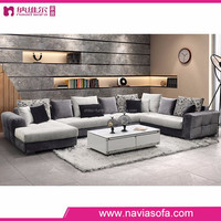 Living room sofa furniture modern chaise lounge fabric corner u shaped sofa set price