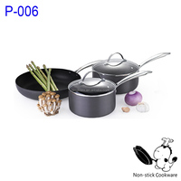 aluminium hard anodized stamped cookware set with oil cold press juicer