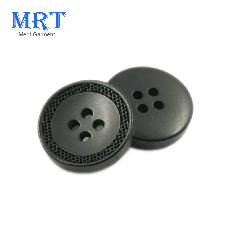 High grade 4 holes engraved laser logo resin polyester plastic buttons/custom button for suit and coat