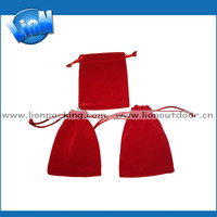Red velvet promotion bag/custom drawstring velvet pouch/hot flap velvet pouch