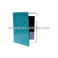Crocodile Skin Pattern Folio Leather Smart Cover Case Tartan Style With Inner Hard Armor Case/Base (Blue) for ipad 3&2