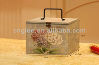 colorful square wooden storage case with handle