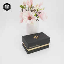 Premium gift gold stamping card black paper cardboard packaging shoulder box with lid for watch