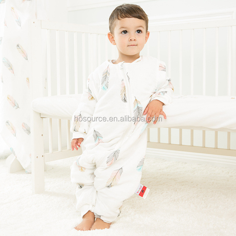 Wholesale baby clothes print feather sleeping pod newborn sleeping bag baby