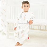 Wholesale baby clothes print feather sleeping pod newborn sleeping bag baby