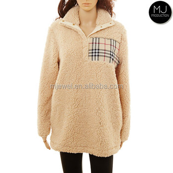 FACTORY wholesale low moq women monogram fleece pullover