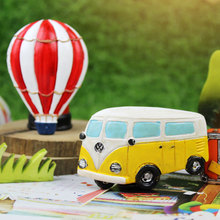 Creative retro pastoral Zakka hot air balloon mini bus resin magnet message posted stereo fridge stickers
