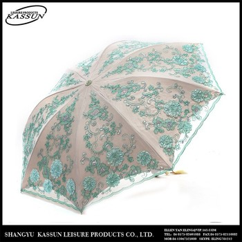 New fashion promotional wholesale 2015 embroidery folding sun umbrella