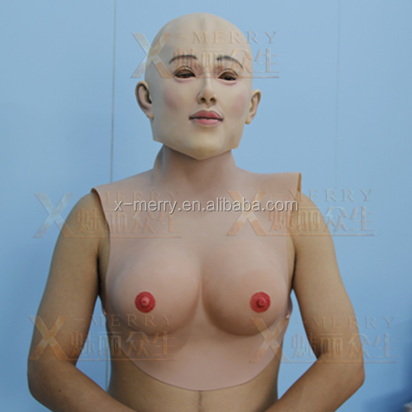 X-MERRY FAKE Female male Latex Torso Transgender Travesty Breast Torso with colorful strings cosplay fun