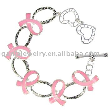 Breast Cancer Awareness Bracelet Enamel Pink Ribbon Link Chain Bracelet