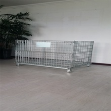galvanized wire mesh storage container stackable steel crate storage cage