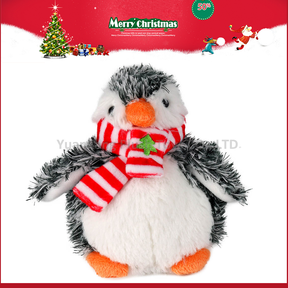 grey christmas penguin with red and white dress cartoon characters