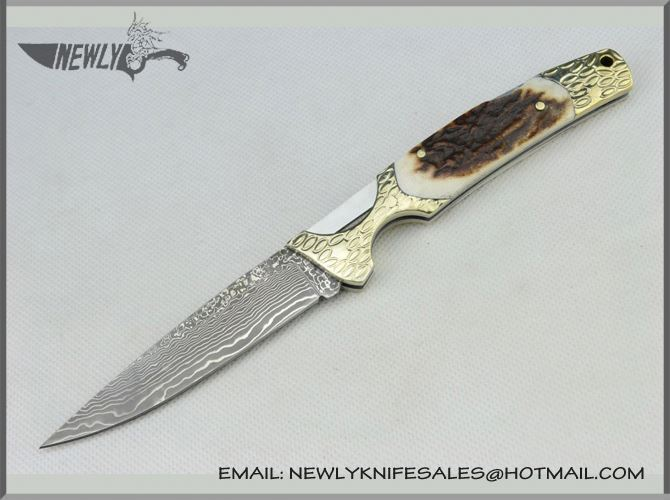 2017 Colorful Titanium Coating Damascus Steel Knife Camel Bone