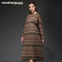 Outline original design Winter Vintage Retro Tie Dye Pattern Cotton Women Western Tunics
