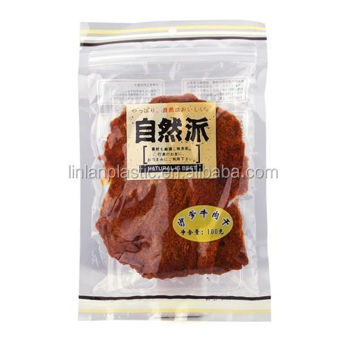 brown kraft paper bag for food packaging with ziplock and window/wholesale beef jerky paper packaging bags with zip lock