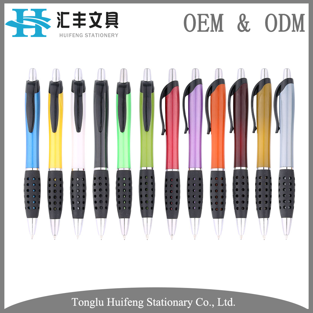Custom rubber grip plastic click company business ball pen for advertising