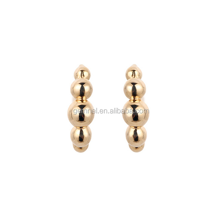 Gemnel new arrival discount small gold beaded hoop earring for ladies