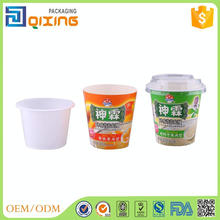 250ml plastic cups cover with printed paper for food packaging