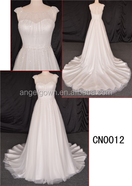 ivory A-line long train wedding dress wedding gown /chiffon wedding dress with paillette