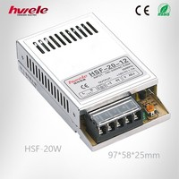 HSF-20W 5V 4A compact single LED power supply/LED transformer/LED driver with SGS,CE,ROHS,TUV,KC,CCC certification
