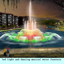 led light and dancing musical water fountain