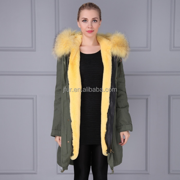 Latest design winter faux fur clothing fur dress army green cotton shell fur casual clothing