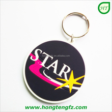 Advertising cheap personalized plastic keychain, 2D soft pvc key holder, wholesale key chain rings