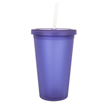 Mlife promotion reusable16oz clear plastic cups with straw and lids