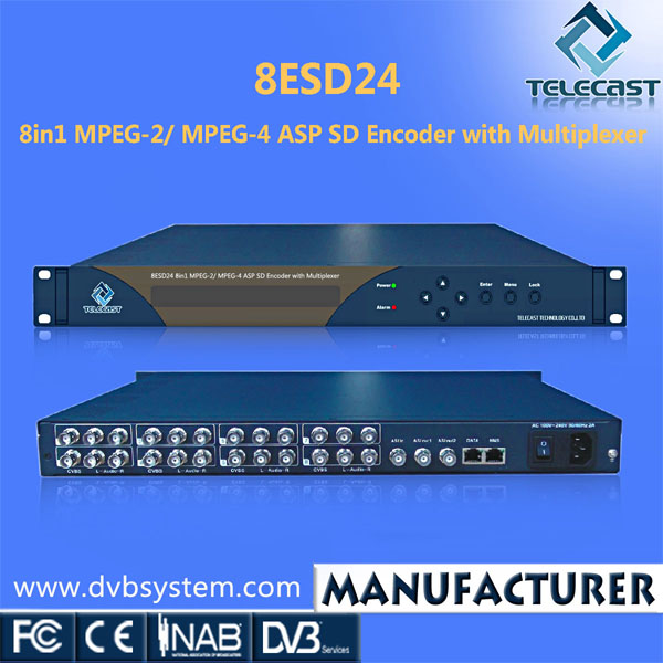 8 in 1 ASP SD MPEG-2/MPEG-4 IPTV MPEG4 Encoder made in China