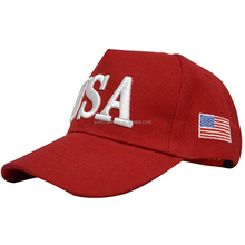 Flat embroider usa flag red ladies women wool five panel hat custom baseball cap plastic stripe