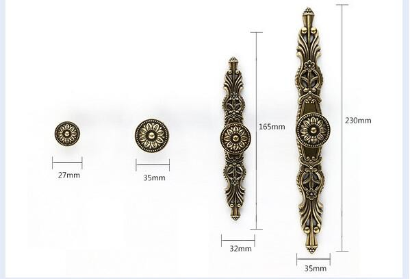 Classical euro wardrobe/closet handle, antique zinc alloy pull knob handle