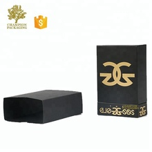 Unique design premium custom black matt lamination perfume samples black box packaging