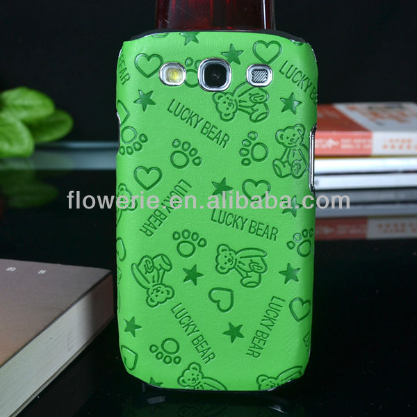 FL700 Lucky bear pattern electraoplating case for sansung galaxy s3,chrom design Aluminum case cover with leather for s3 STOCK