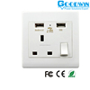 Wholesale wall UK socket outlet with 2 usb port 5V 2.1A