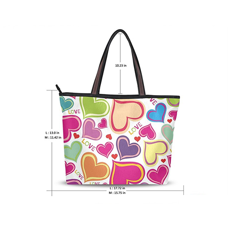 Fashion ladies fancy printed canvas handbag tote bag durable shoulder bag