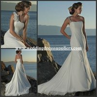 WDS525 Most Popular Attachable One Shoulder Flowers Beads Slight Mermaid Chiffon Beach Wedding Dress