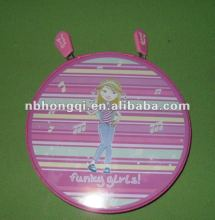 Promotional Round Metal Tin CD Case/Box with zipper
