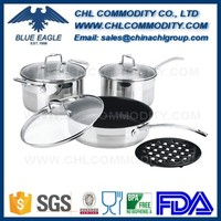Kitchen accessories capsuled bottom stainless steel cookware set