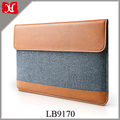 Wholesale Ultra Slim Sleeve Case PU Leather Laptop Protective Bag with Accessory Pocket for 13 Inch MacBook Pro