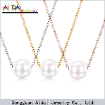 Silver/ Gold/Rose gold Plated Lovely Charm Women Jewelry Stainless Steel Pendant pearl Necklace
