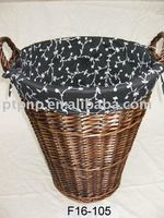 wicker storage/waste paper basket with cloth-liner